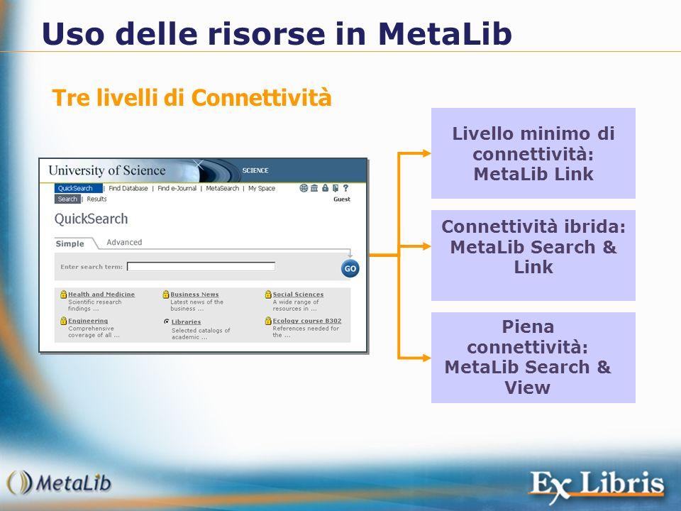 Uso delle risorse in MetaLib