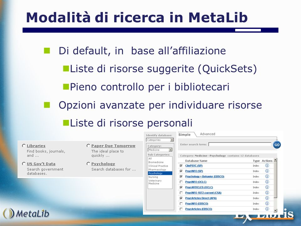 Modalità di ricerca in MetaLib