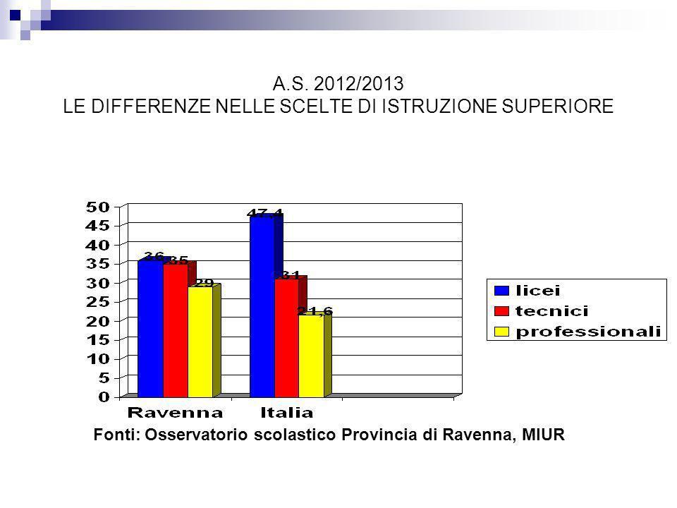 A.S. 2012/2013 LE DIFFERENZE NELLE SCELTE DI ISTRUZIONE SUPERIORE