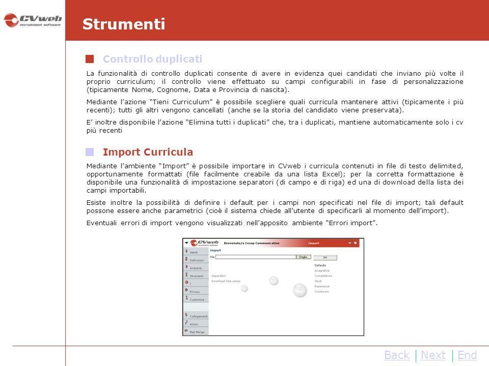 Strumenti Back Next End Controllo duplicati Import Curricula