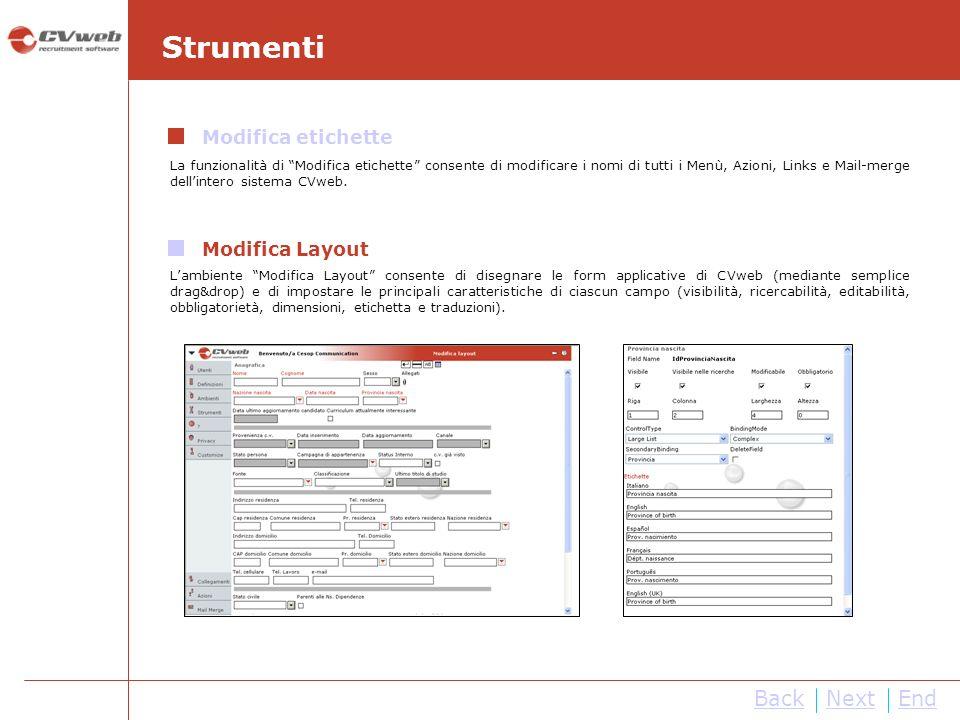 Strumenti Back Next End Modifica etichette Modifica Layout