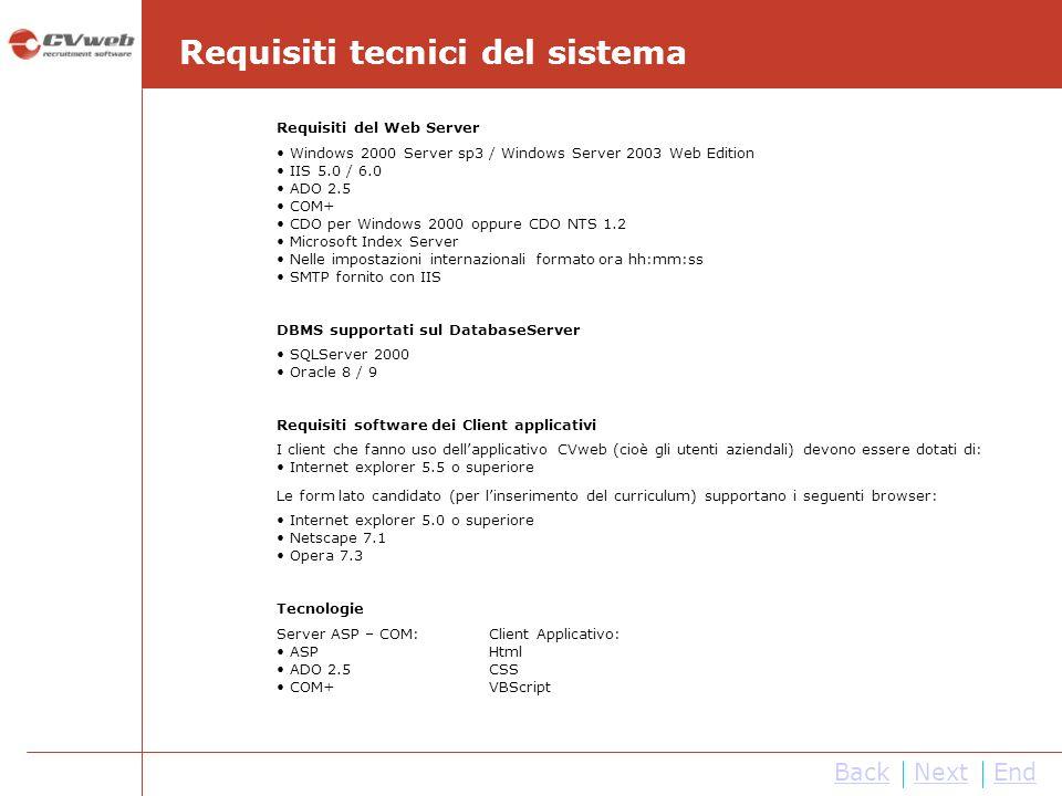 Requisiti tecnici del sistema