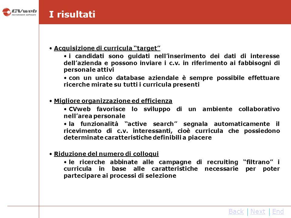 I risultati Back Next End Acquisizione di curricula target