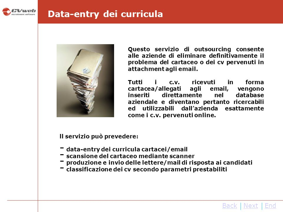 Data-entry dei curricula