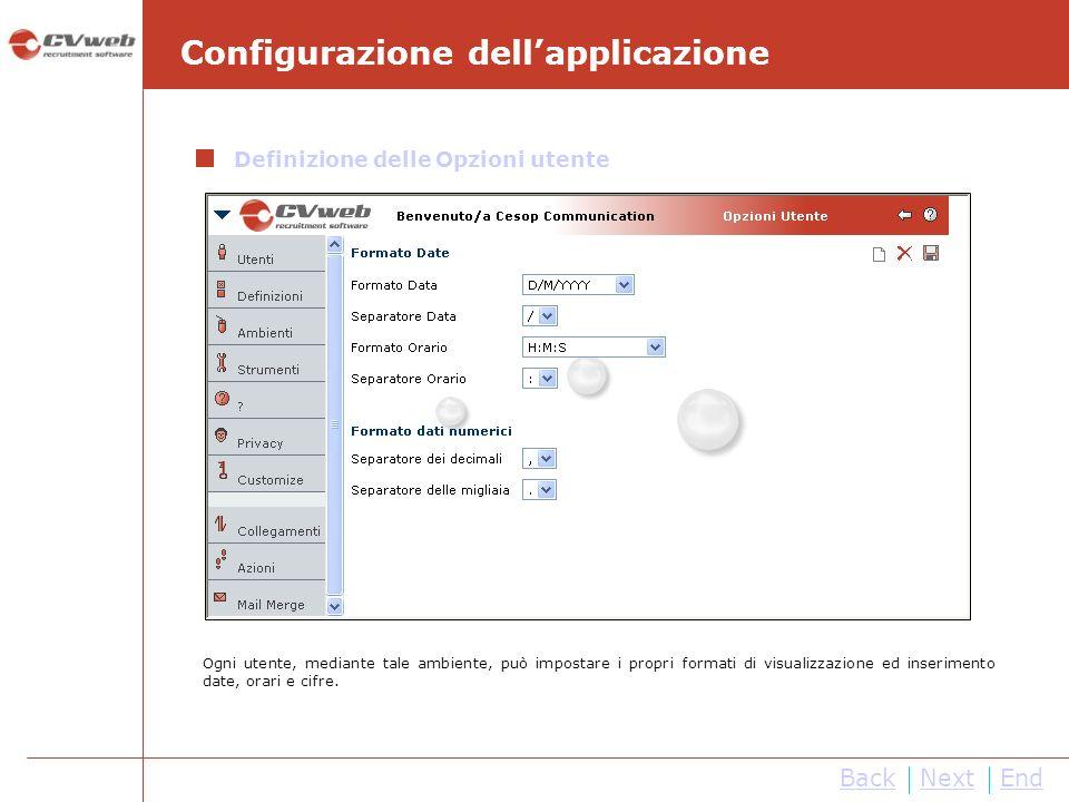 Configurazione dell'applicazione