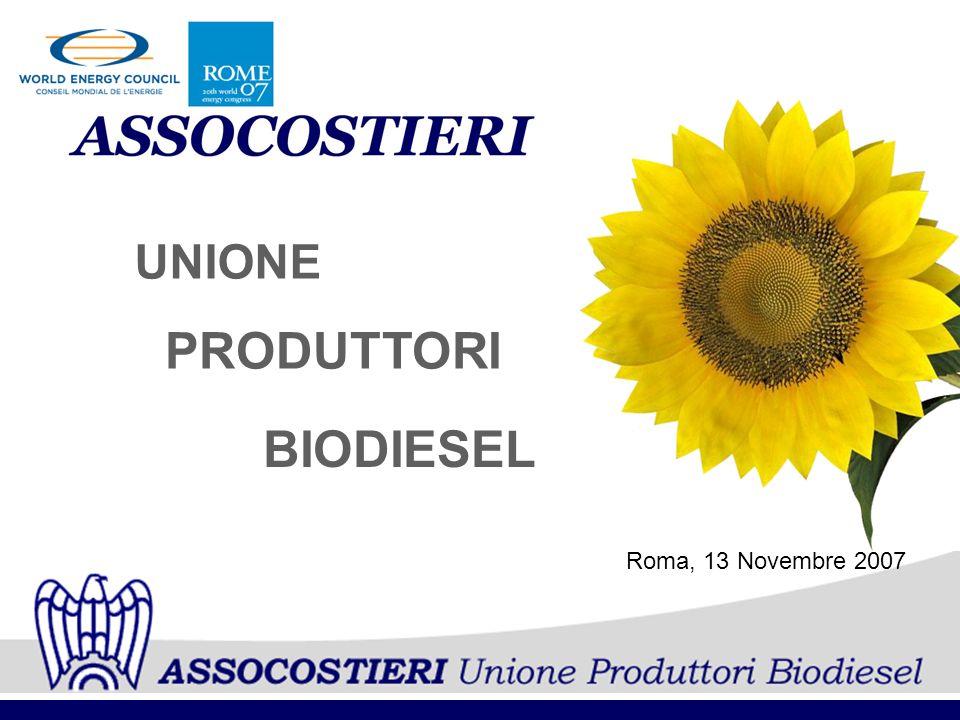 UNIONE PRODUTTORI BIODIESEL Roma, 13 Novembre 2007