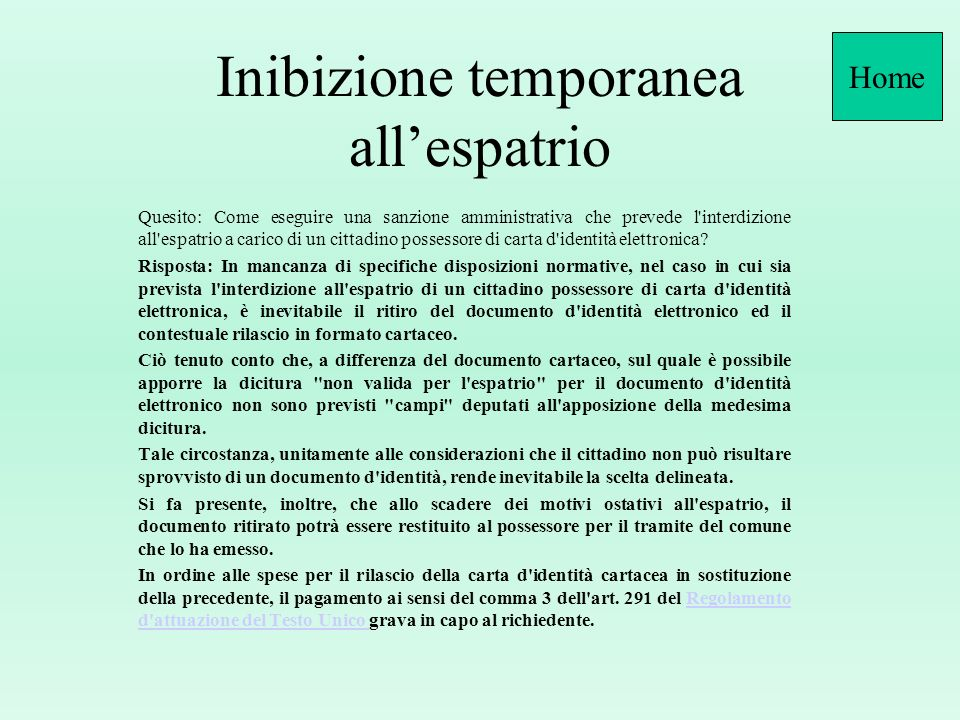 Inibizione temporanea all'espatrio