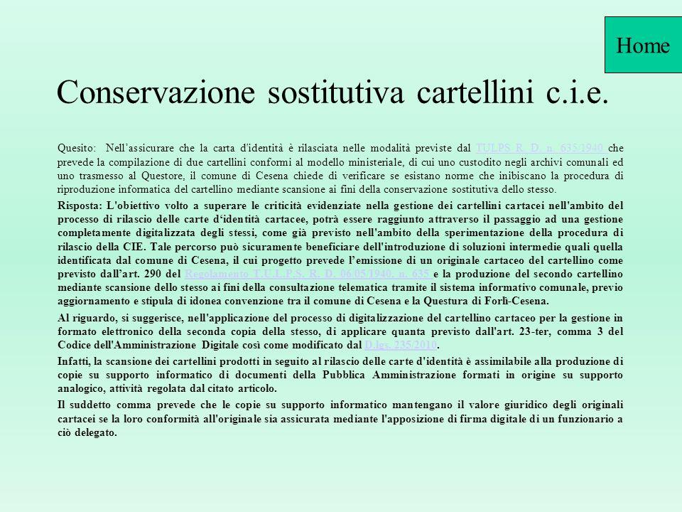 Conservazione sostitutiva cartellini c.i.e.