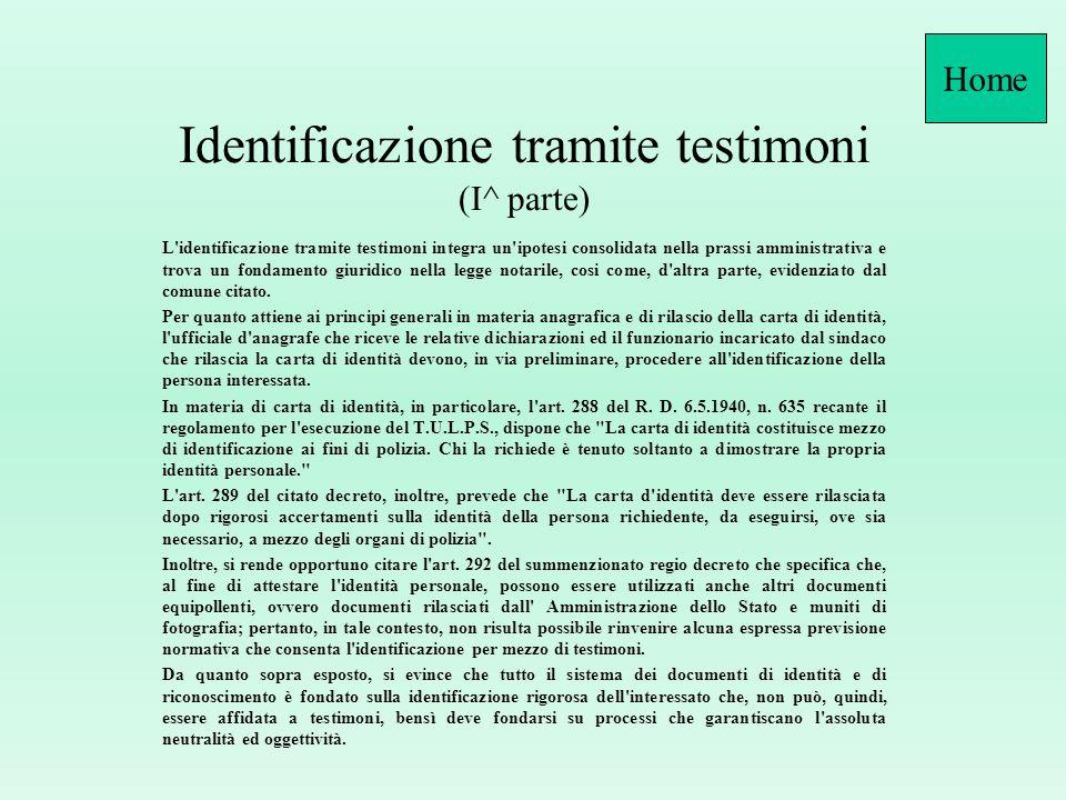Identificazione tramite testimoni (I^ parte)