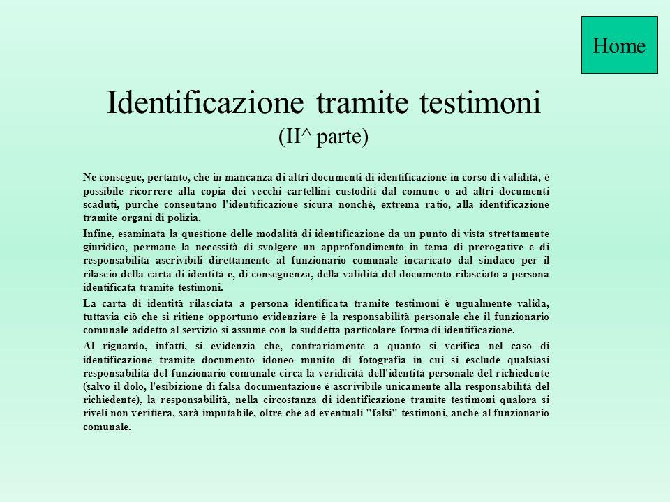Identificazione tramite testimoni (II^ parte)