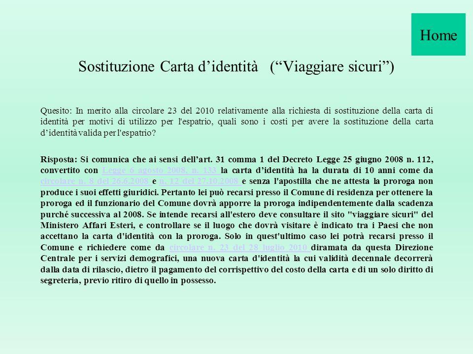 Sostituzione Carta d'identità ( Viaggiare sicuri )