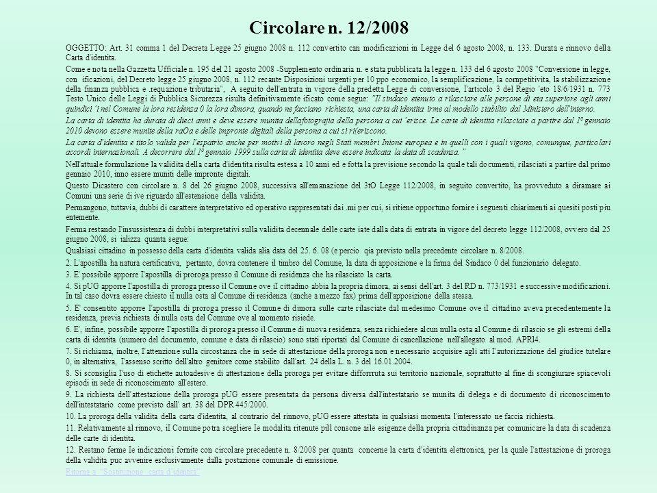 Circolare n. 12/2008