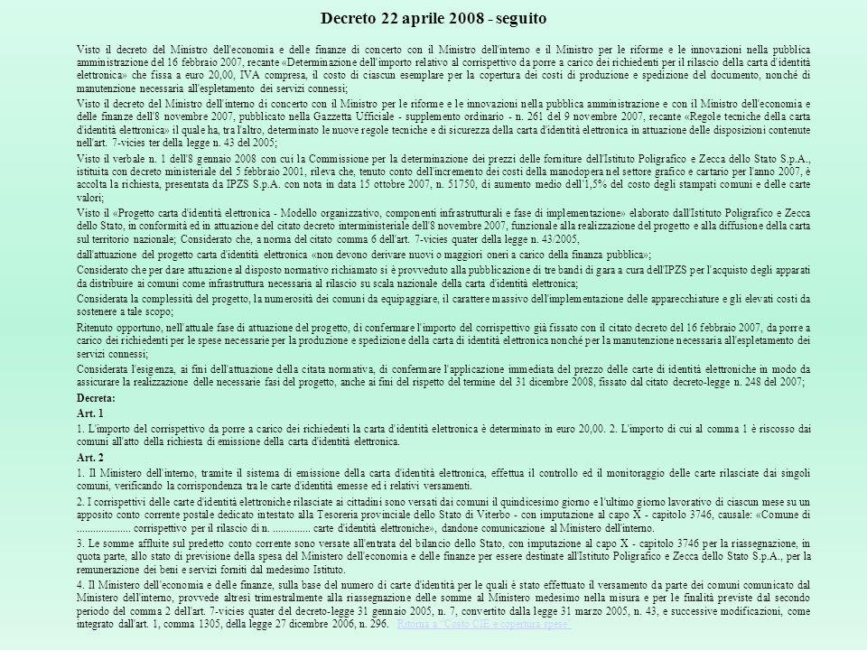 Decreto 22 aprile 2008 - seguito