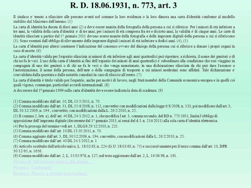 R. D. 18.06.1931, n. 773, art. 3