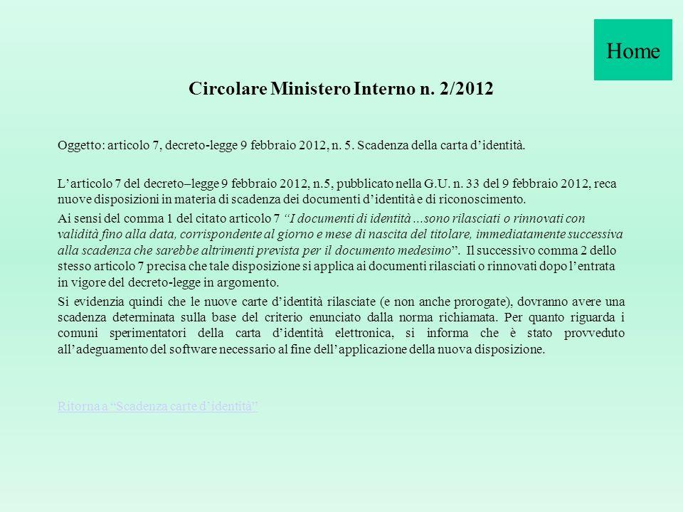 Circolare Ministero Interno n. 2/2012