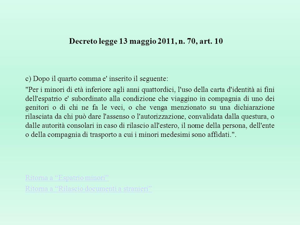 Decreto legge 13 maggio 2011, n. 70, art. 10