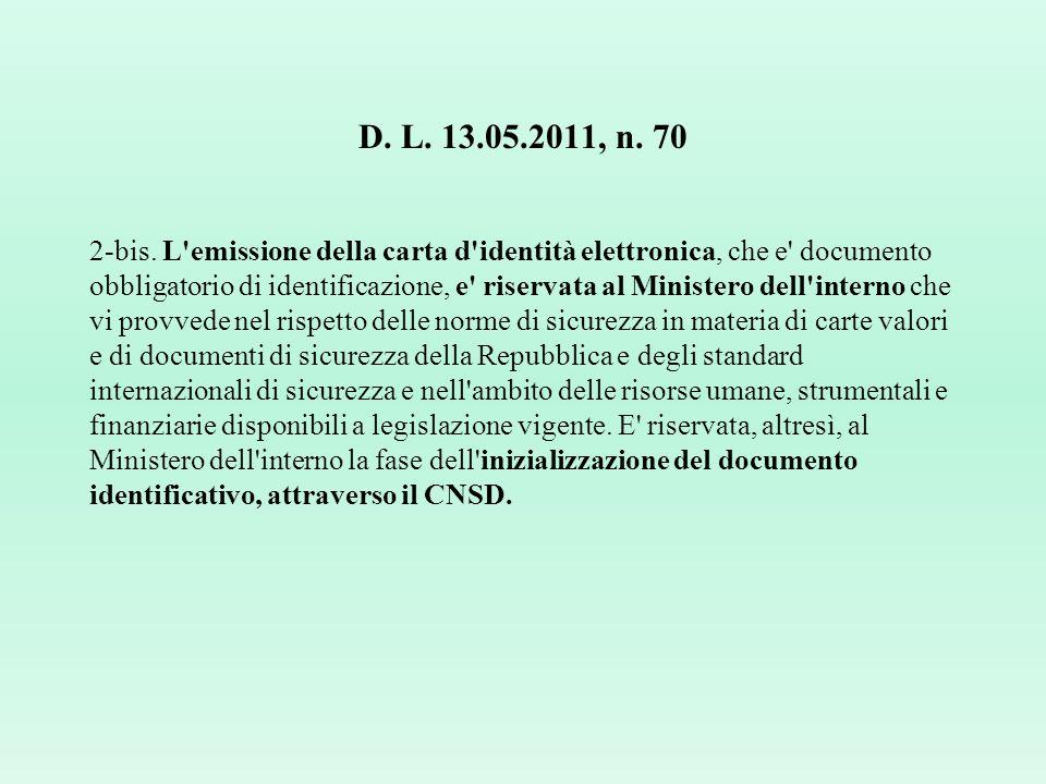 D. L. 13.05.2011, n. 70