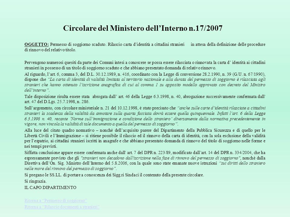 Circolare del Ministero dell'Interno n.17/2007