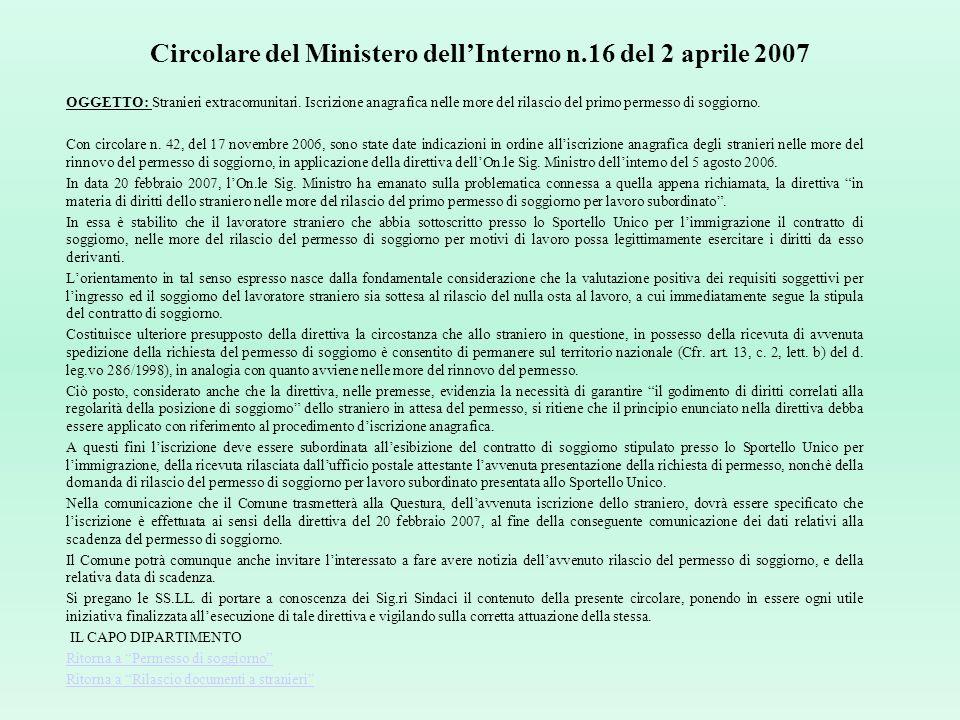 Circolare del Ministero dell'Interno n.16 del 2 aprile 2007