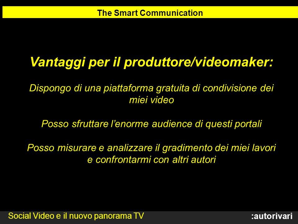 The Smart Communication Vantaggi per il produttore/videomaker: