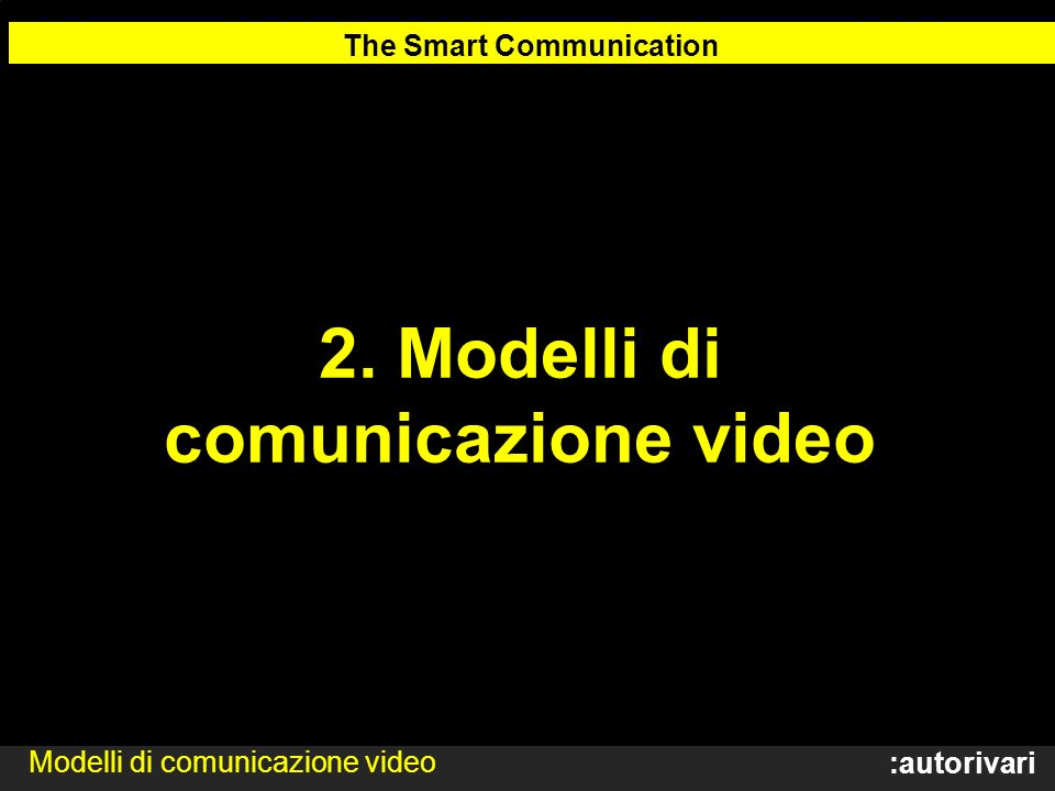 The Smart Communication 2. Modelli di comunicazione video