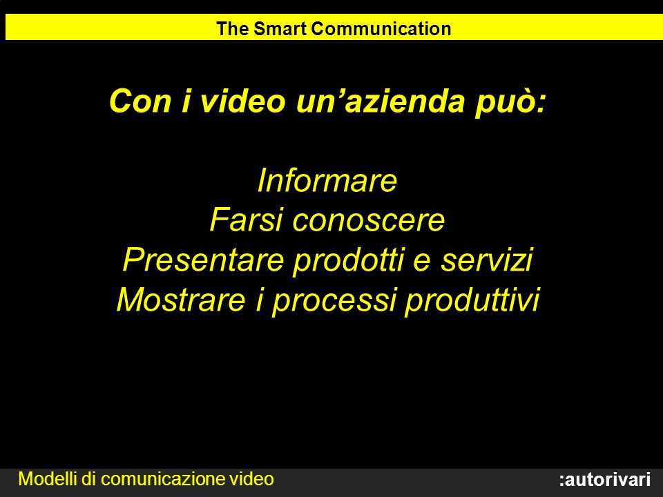 The Smart Communication Con i video un'azienda può: