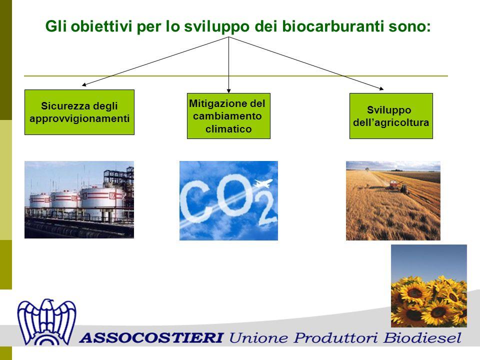 Gli obiettivi per lo sviluppo dei biocarburanti sono: