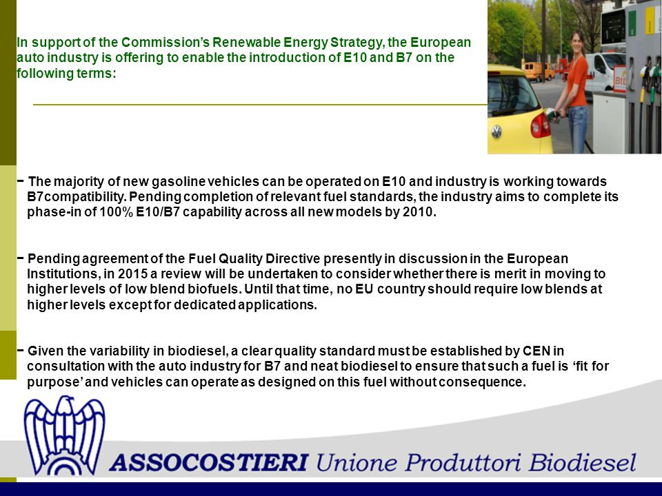 In support of the Commission's Renewable Energy Strategy, the European