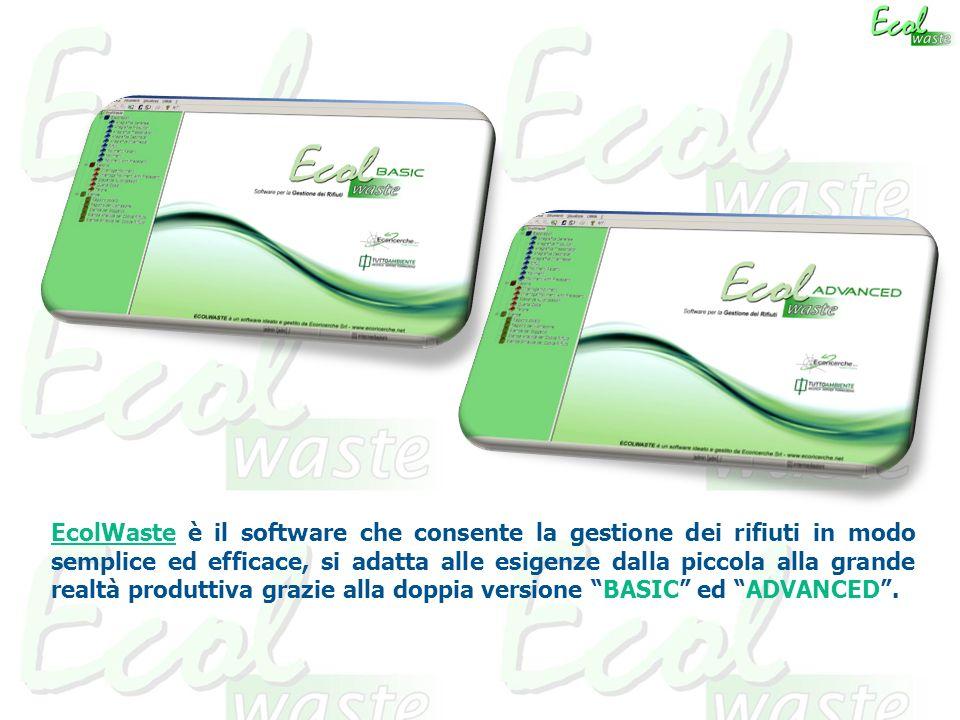 EcolWaste è il software che consente la gestione dei rifiuti in modo semplice ed efficace, si adatta alle esigenze dalla piccola alla grande realtà produttiva grazie alla doppia versione BASIC ed ADVANCED .