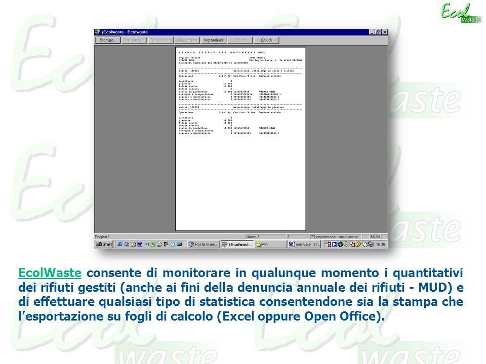 EcolWaste consente di monitorare in qualunque momento i quantitativi dei rifiuti gestiti (anche ai fini della denuncia annuale dei rifiuti - MUD) e di effettuare qualsiasi tipo di statistica consentendone sia la stampa che l'esportazione su fogli di calcolo (Excel oppure Open Office).