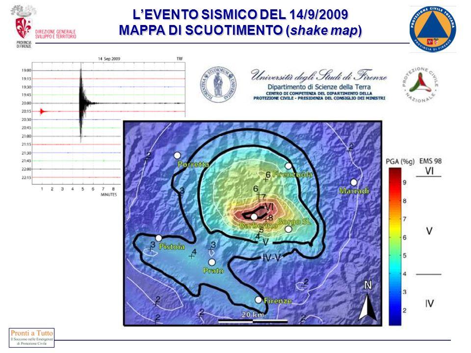L'EVENTO SISMICO DEL 14/9/2009 MAPPA DI SCUOTIMENTO (shake map)