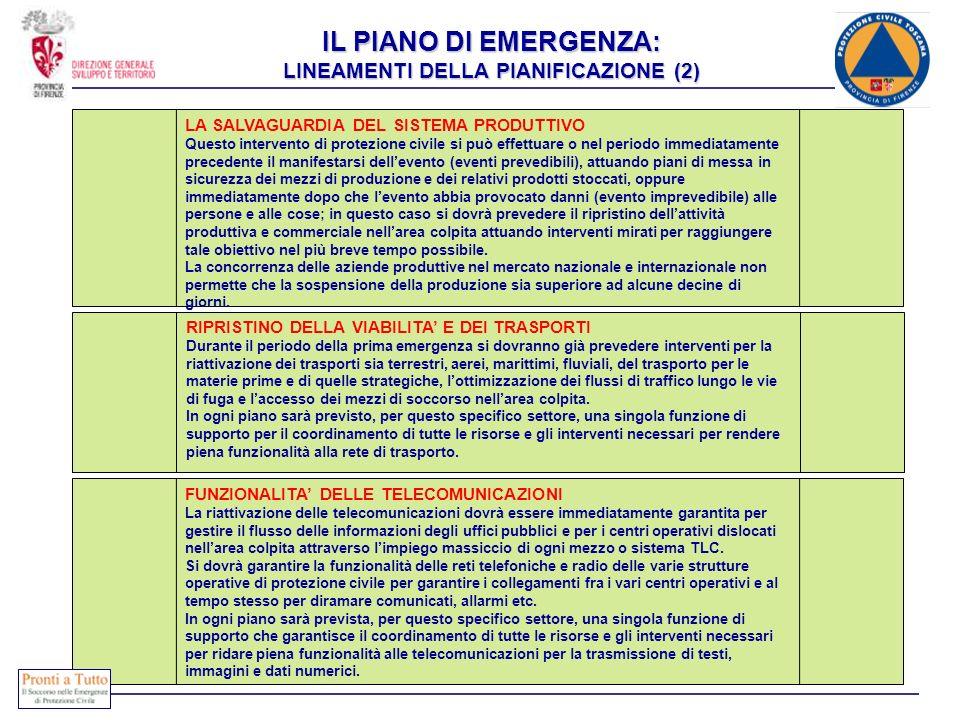 IL PIANO DI EMERGENZA: LINEAMENTI DELLA PIANIFICAZIONE (2)