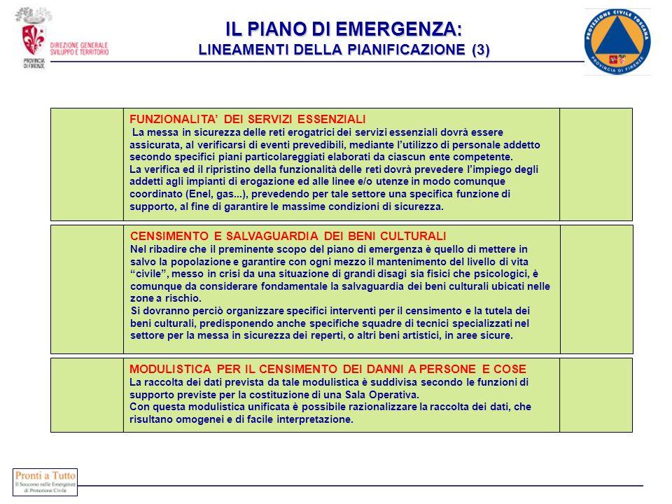 IL PIANO DI EMERGENZA: LINEAMENTI DELLA PIANIFICAZIONE (3)