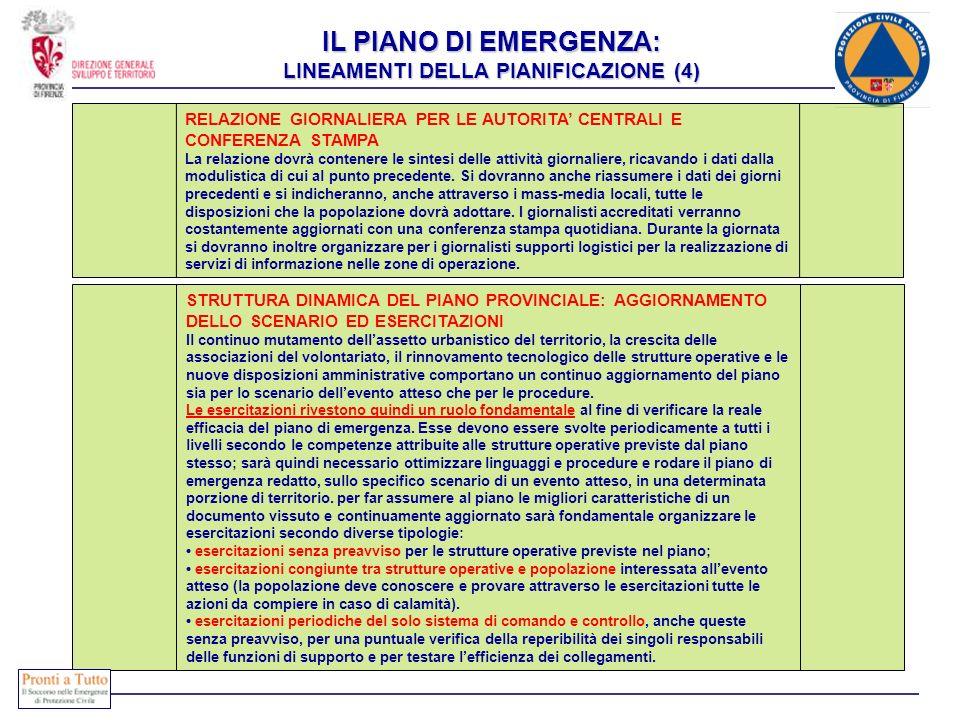 IL PIANO DI EMERGENZA: LINEAMENTI DELLA PIANIFICAZIONE (4)