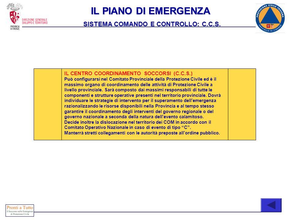 IL PIANO DI EMERGENZA SISTEMA COMANDO E CONTROLLO: C.C.S.