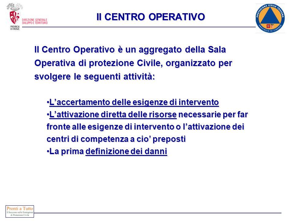 Il CENTRO OPERATIVO Il Centro Operativo è un aggregato della Sala Operativa di protezione Civile, organizzato per svolgere le seguenti attività: