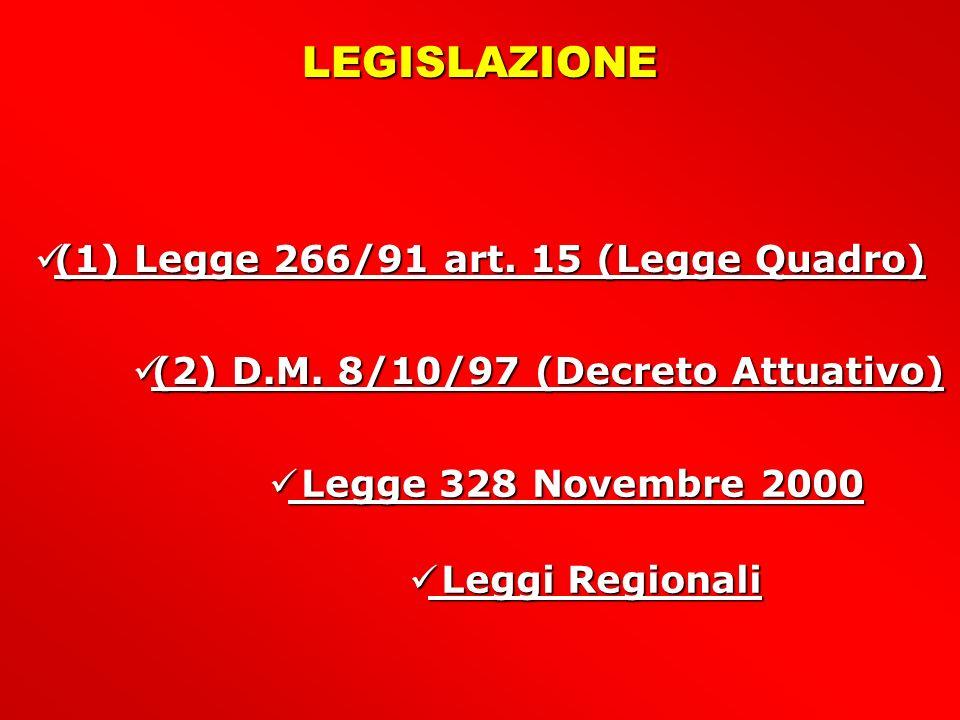 LEGISLAZIONE (1) Legge 266/91 art. 15 (Legge Quadro)