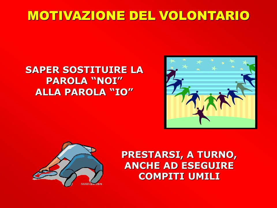 MOTIVAZIONE DEL VOLONTARIO SAPER SOSTITUIRE LA PAROLA NOI