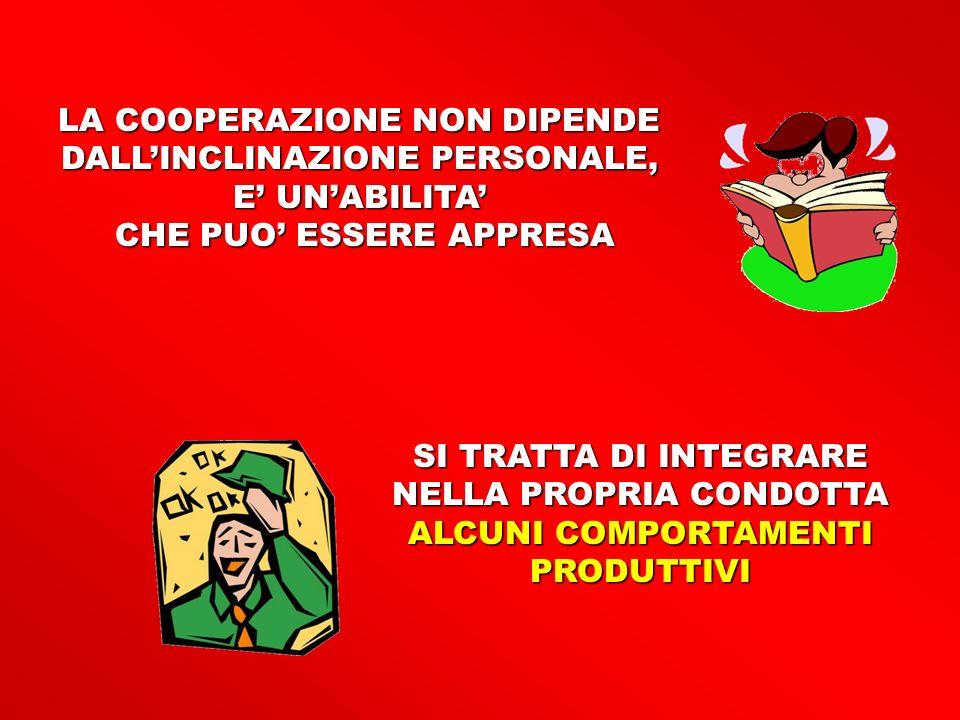 LA COOPERAZIONE NON DIPENDE DALL'INCLINAZIONE PERSONALE,