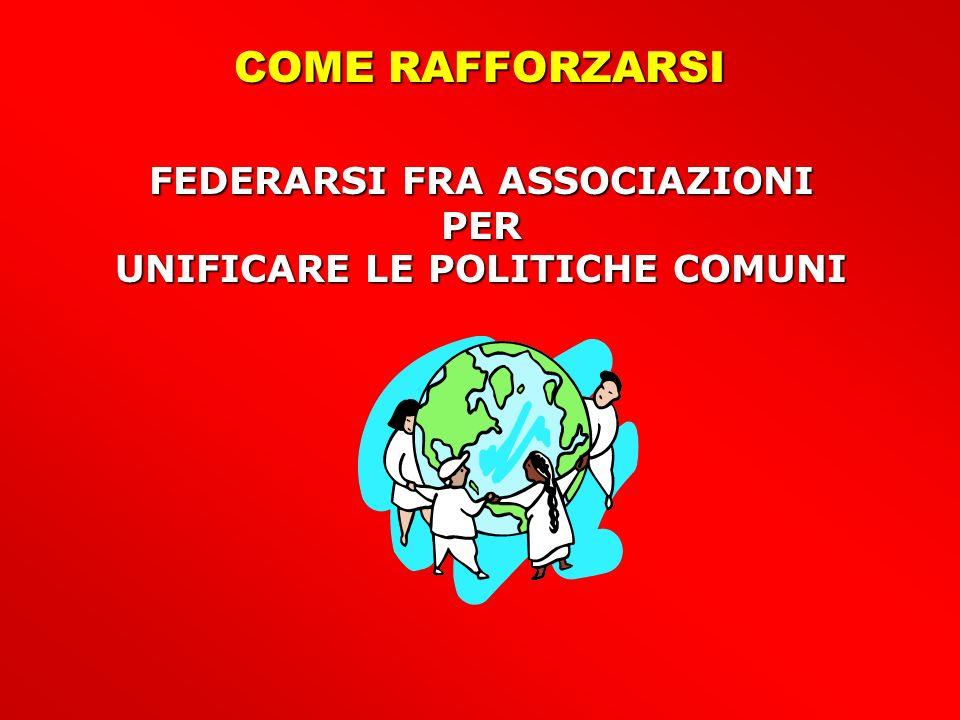 FEDERARSI FRA ASSOCIAZIONI UNIFICARE LE POLITICHE COMUNI
