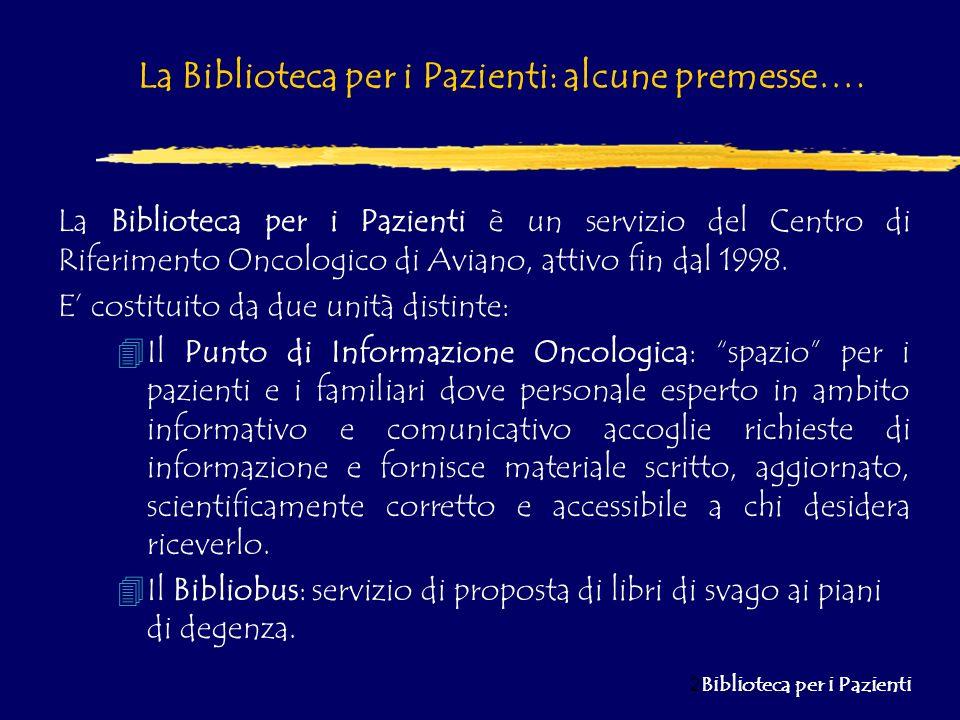 La Biblioteca per i Pazienti: alcune premesse….