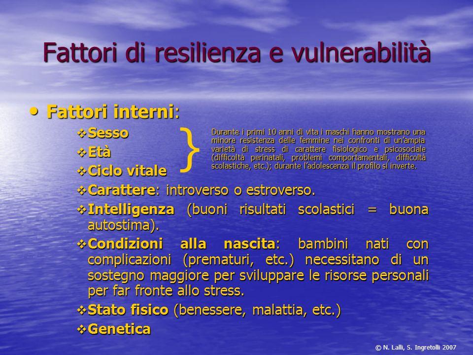 Fattori di resilienza e vulnerabilità