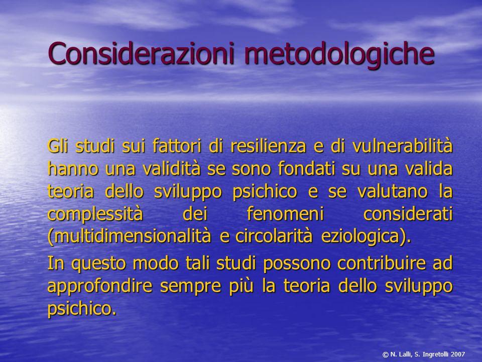 Considerazioni metodologiche