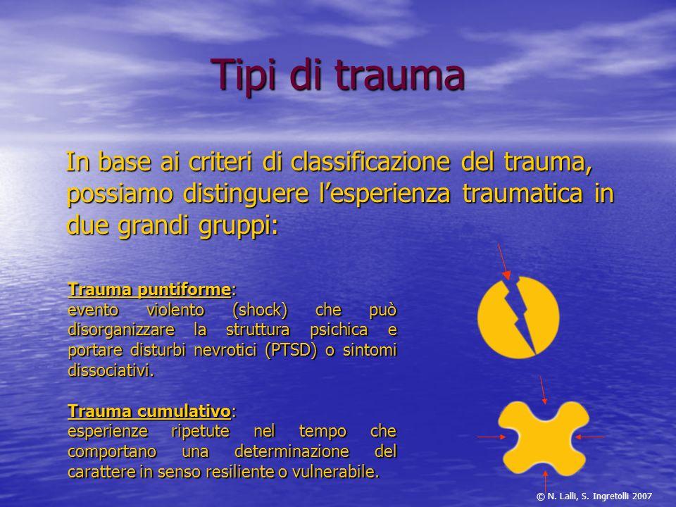 Tipi di trauma In base ai criteri di classificazione del trauma, possiamo distinguere l'esperienza traumatica in due grandi gruppi: