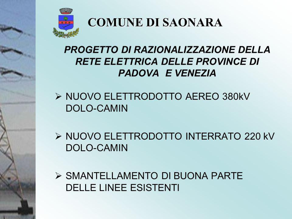 COMUNE DI SAONARA PROGETTO DI RAZIONALIZZAZIONE DELLA RETE ELETTRICA DELLE PROVINCE DI PADOVA E VENEZIA.