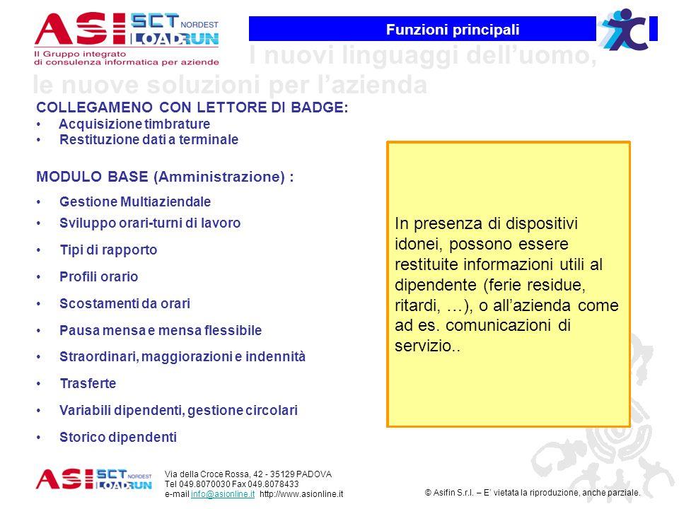 Funzioni principali COLLEGAMENO CON LETTORE DI BADGE: Acquisizione timbrature. Restituzione dati a terminale.