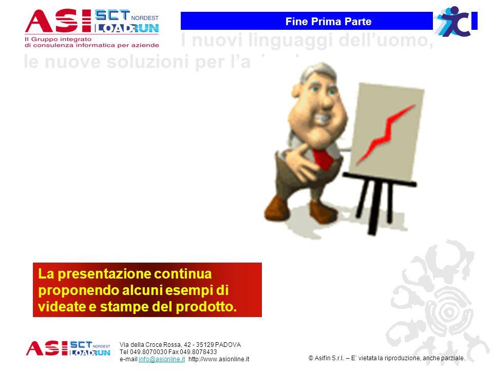 Fine Prima Parte La presentazione continua proponendo alcuni esempi di videate e stampe del prodotto.