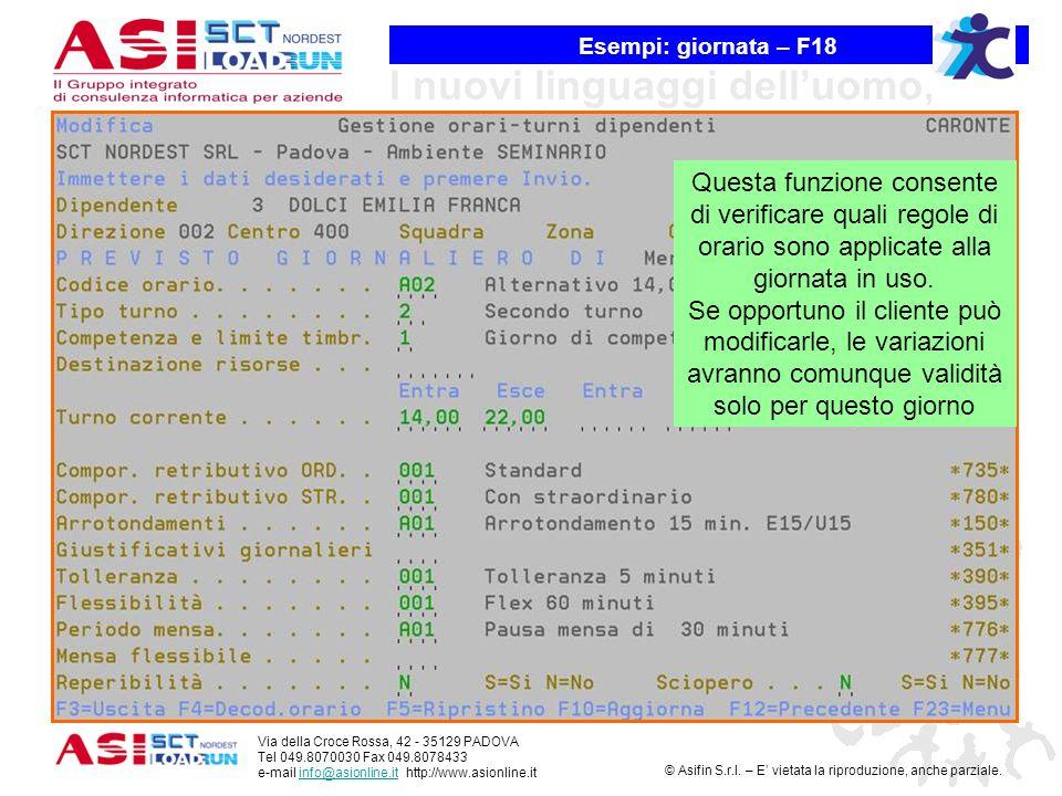 Esempi: giornata – F18 Questa funzione consente di verificare quali regole di orario sono applicate alla giornata in uso.