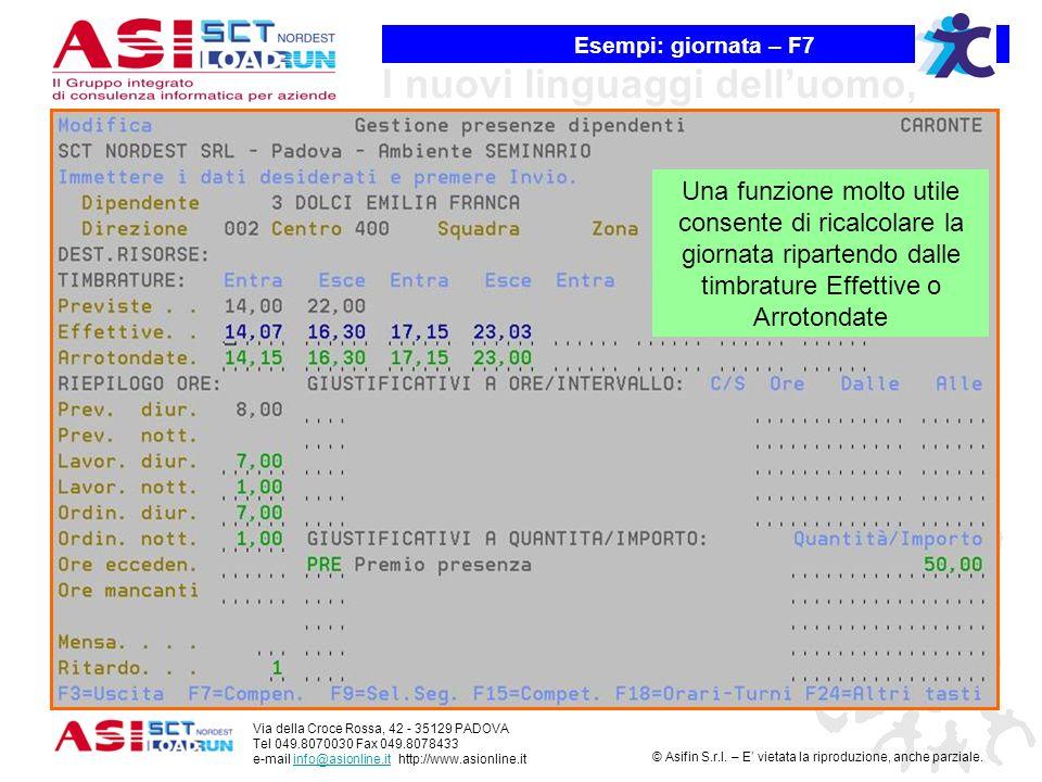 Esempi: giornata – F7 Una funzione molto utile consente di ricalcolare la giornata ripartendo dalle timbrature Effettive o Arrotondate.