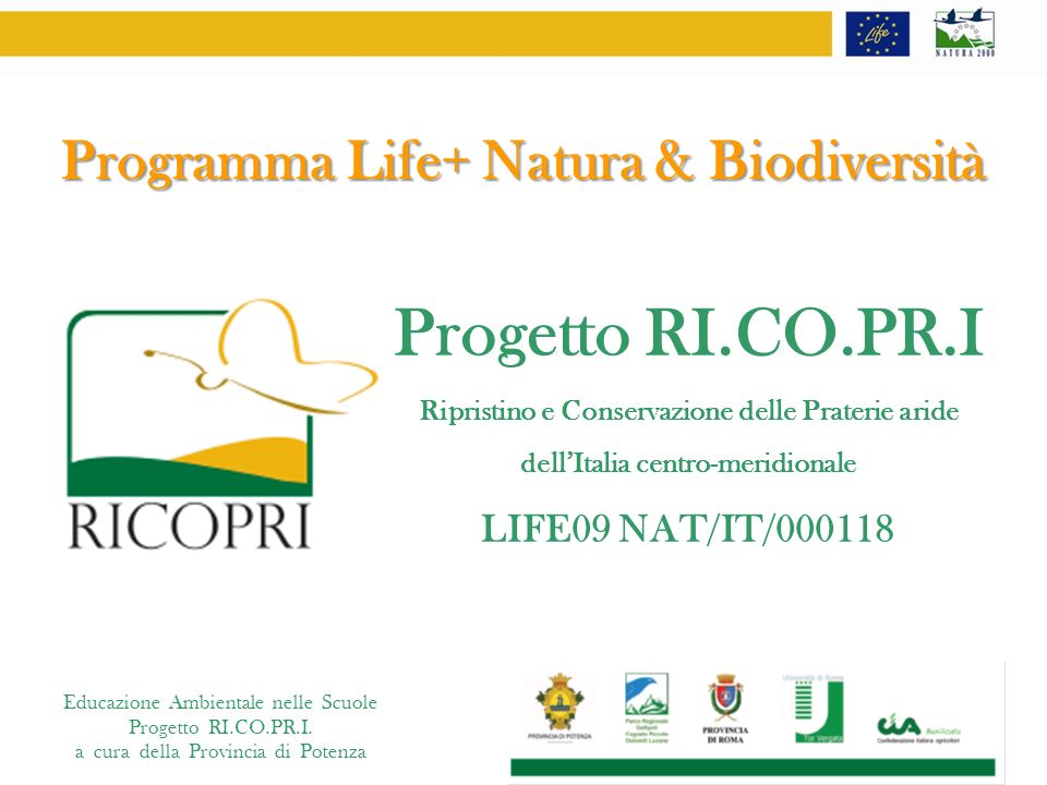 Progetto RI.CO.PR.I Programma Life+ Natura & Biodiversità